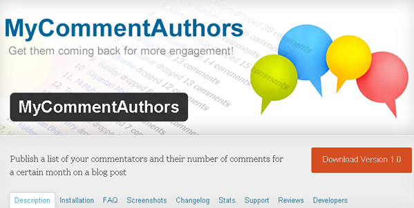 mycommentauthors on wordpress