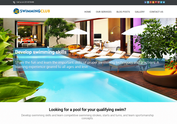 WordPress Theme For Swimming Pool Club