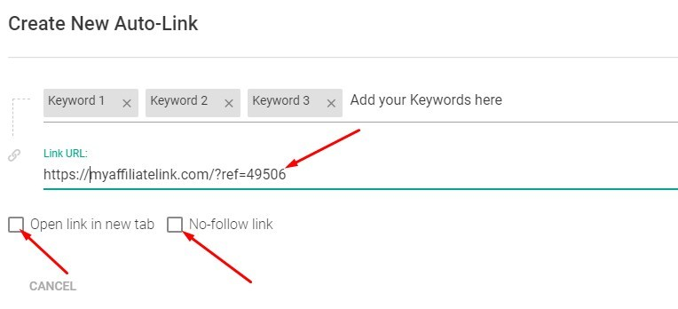 link keywords to affiliate resource