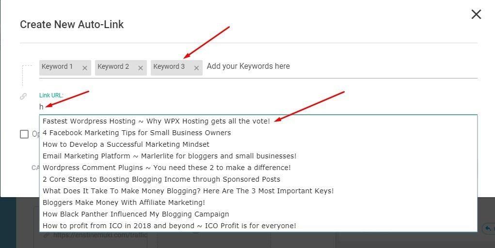 link keywords to internal resource
