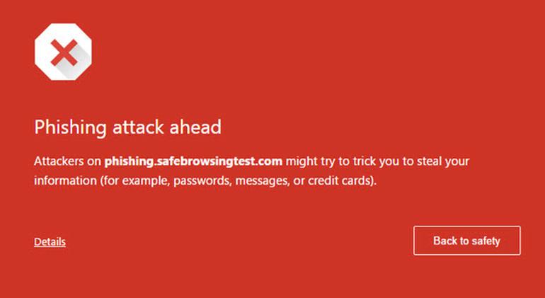 Chrome phishing alerts