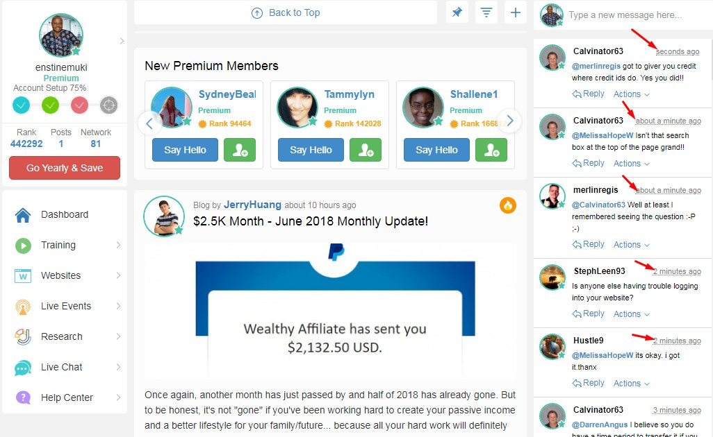wealthy affiliate manage community
