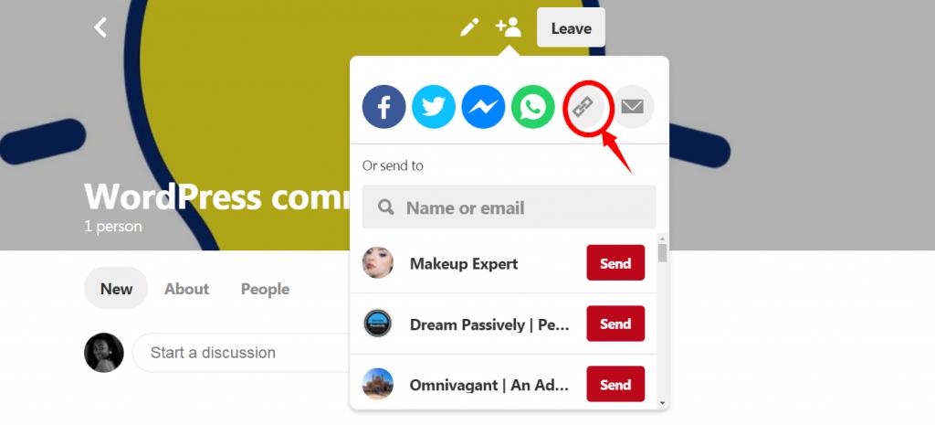 pinterest link icon