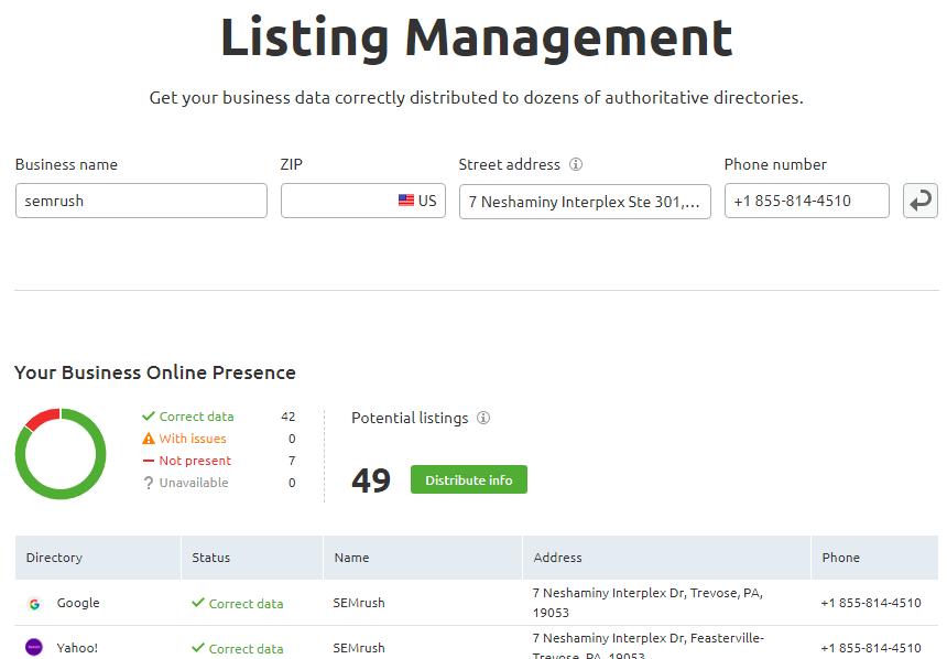 Listing Management semrush