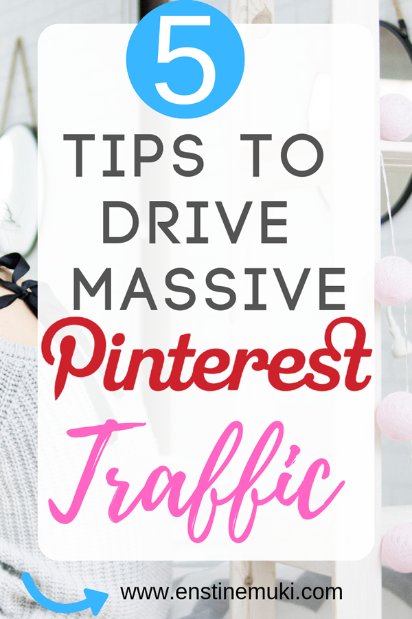 These are 5 tips to drive massive Pinterest traffic. Pinterest Tips for Pinterest traffic. Pinterest Marketing