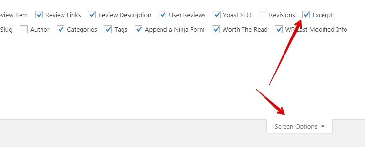 toggle excerpts in wordpress