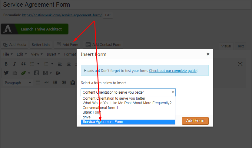 adding form to page