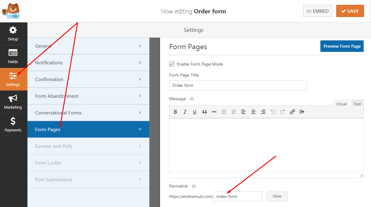 billing form in WordPress