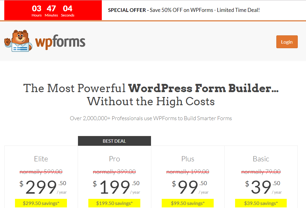 WPForms discount