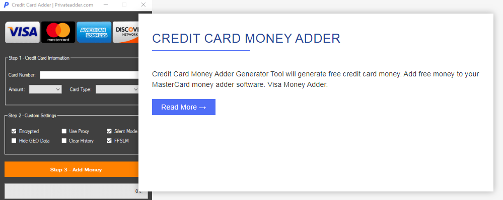 credit card money adder