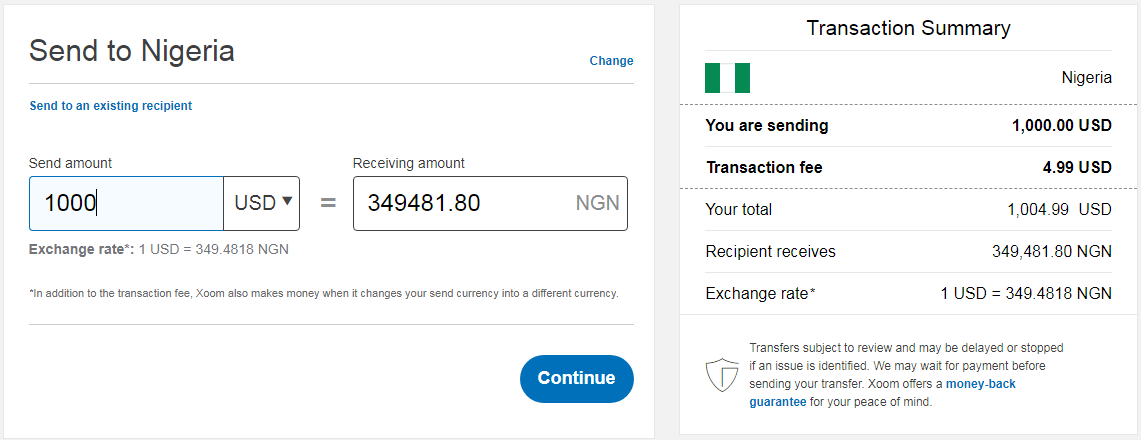 sending PayPal money to Nigeria