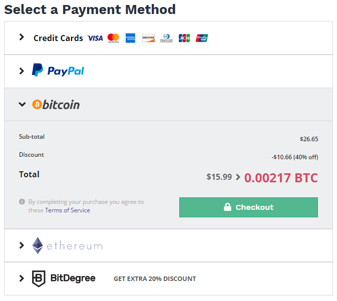 bitdegree payment method
