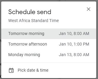 gmail message scheduler