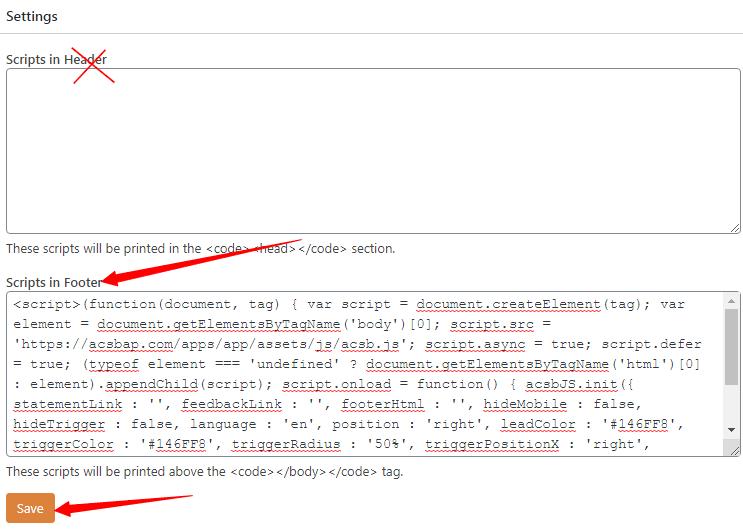 paste script in WordPress