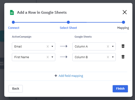 ActiveCampaign Workflow automation google sheet