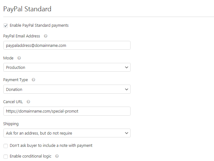 Paypal Standard for wpforms