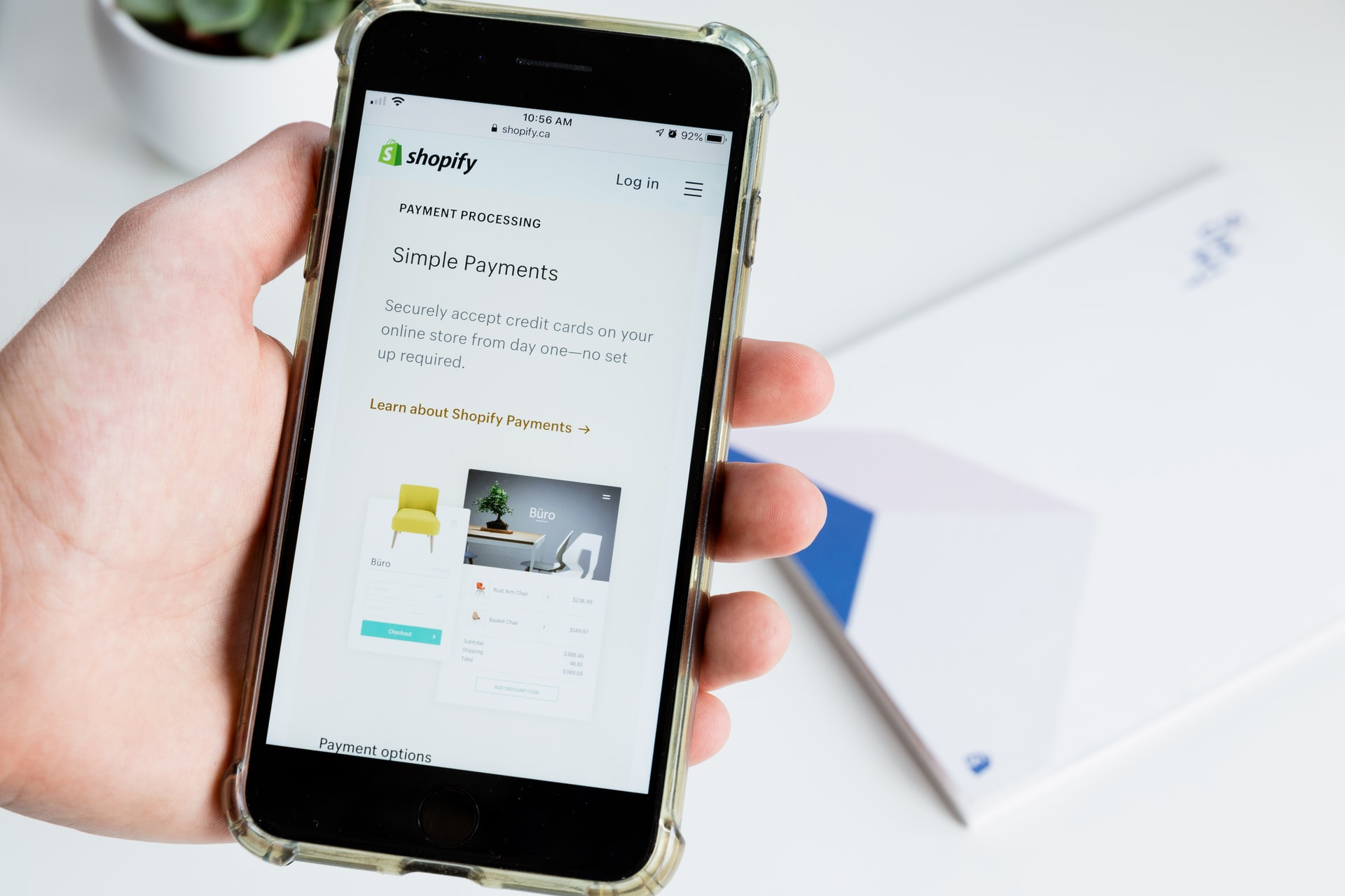 Shopify payments on phone