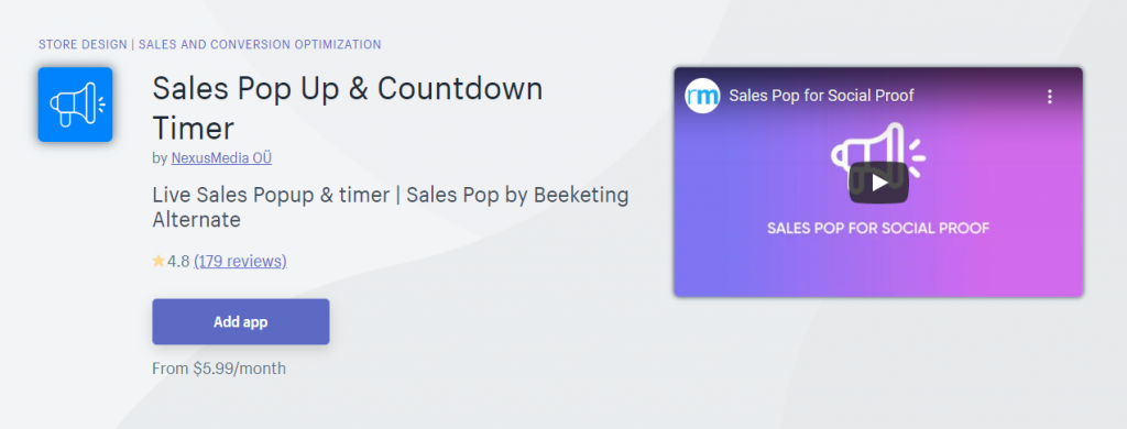 Sales Pop Up & Countdown Timer