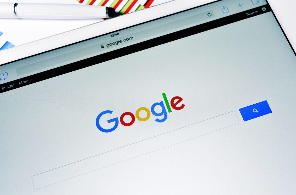 Google homepage on tablet