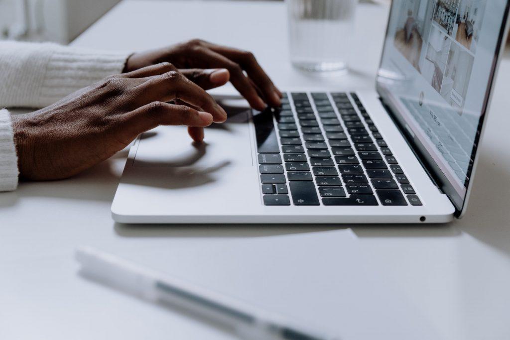 Woman scrolling on website