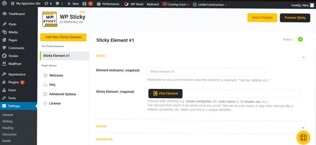 WP Sticky basic settings
