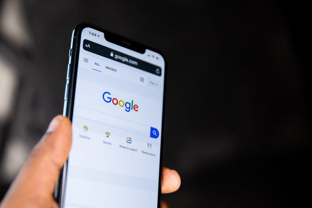 Google homepage on iPhone