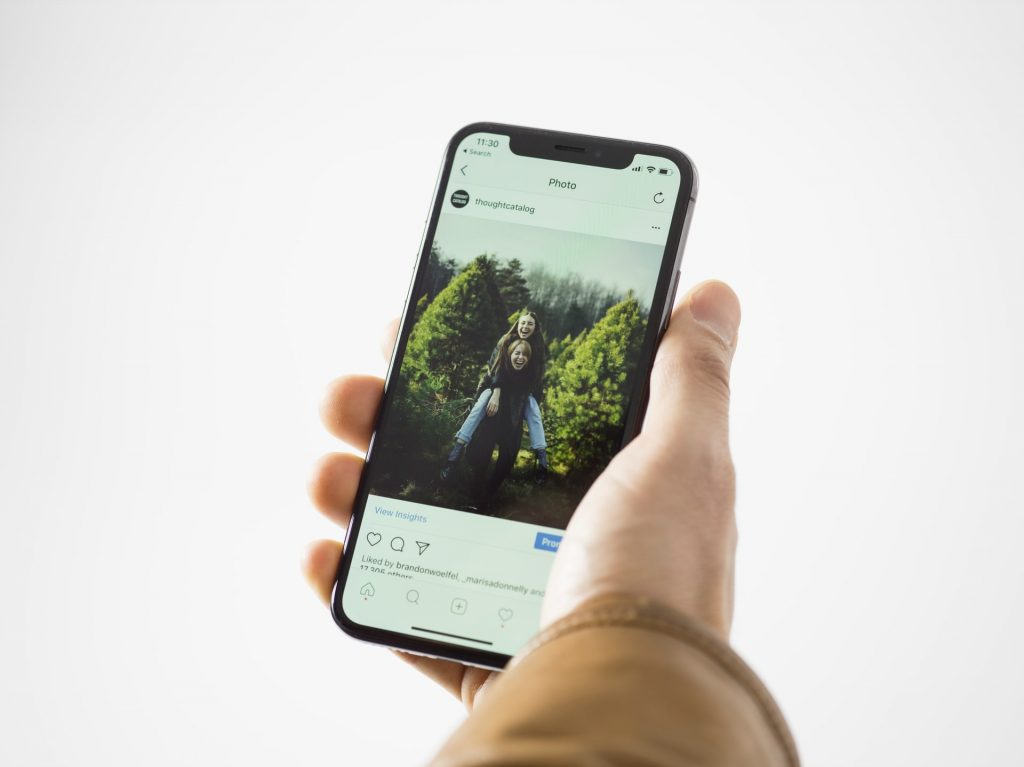 Phone showing Instagram post