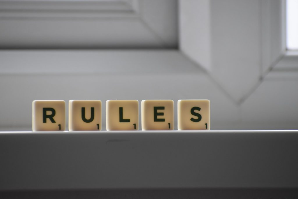Word rules in scrabble letters