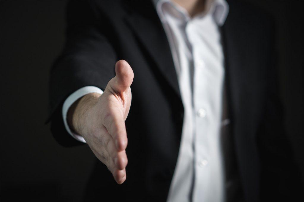 Man wanting to shake hands
