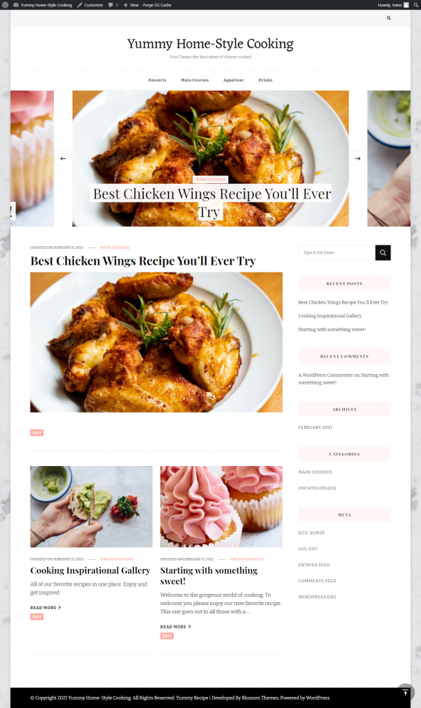 Website with Yummy Recipe theme
