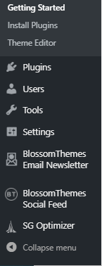 WordPress Appearance Getting Started tab extended