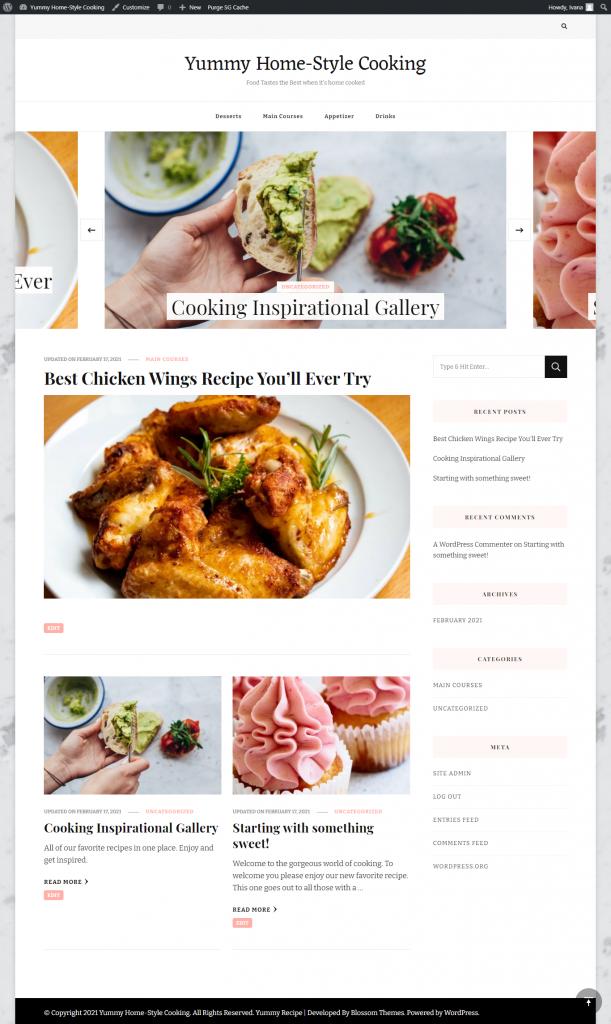 Yummy Recipe Theme homepage layout