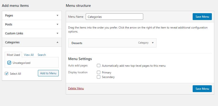 Yummy Recipe Theme menu structure settings