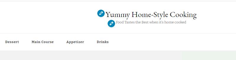 Yummy Recipe Theme menu