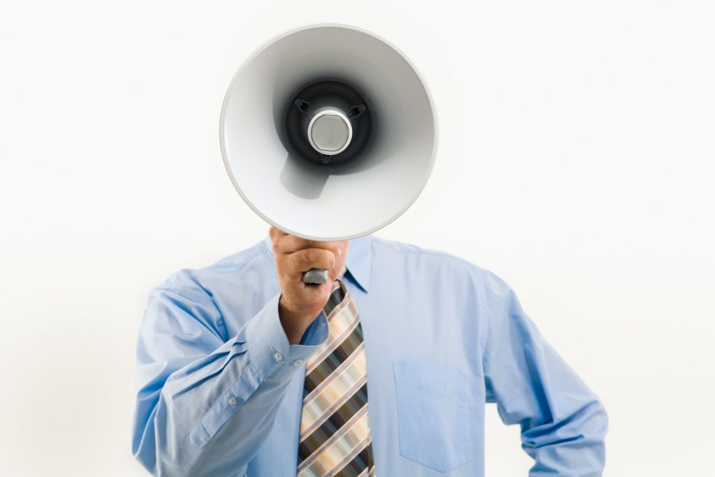 Man with white megaphone