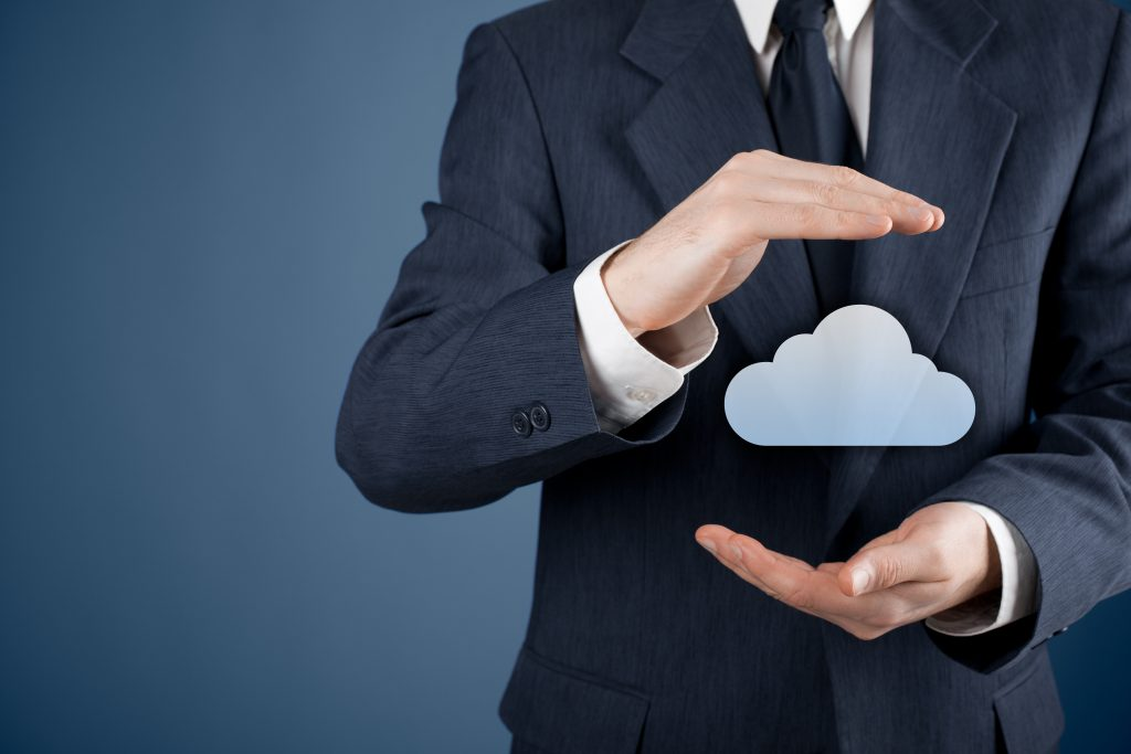 Man holding CGI cloud