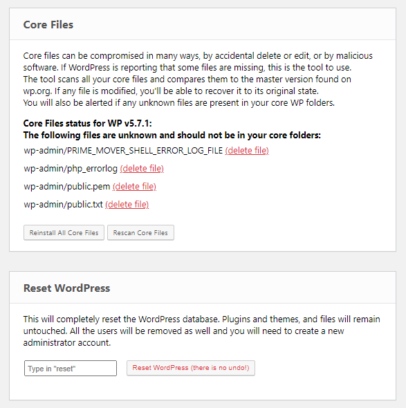 Emergency Recovery Script core files and reset WordPress tools