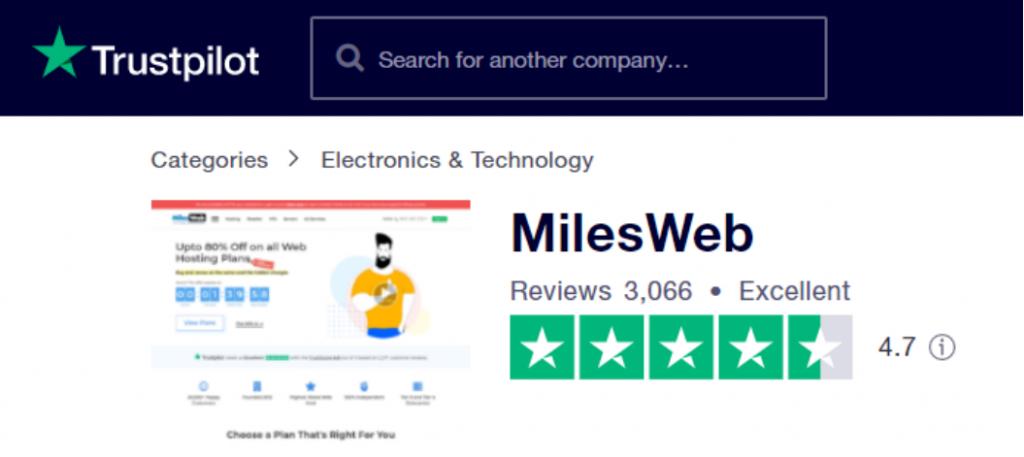 MilesWeb Trustpilot