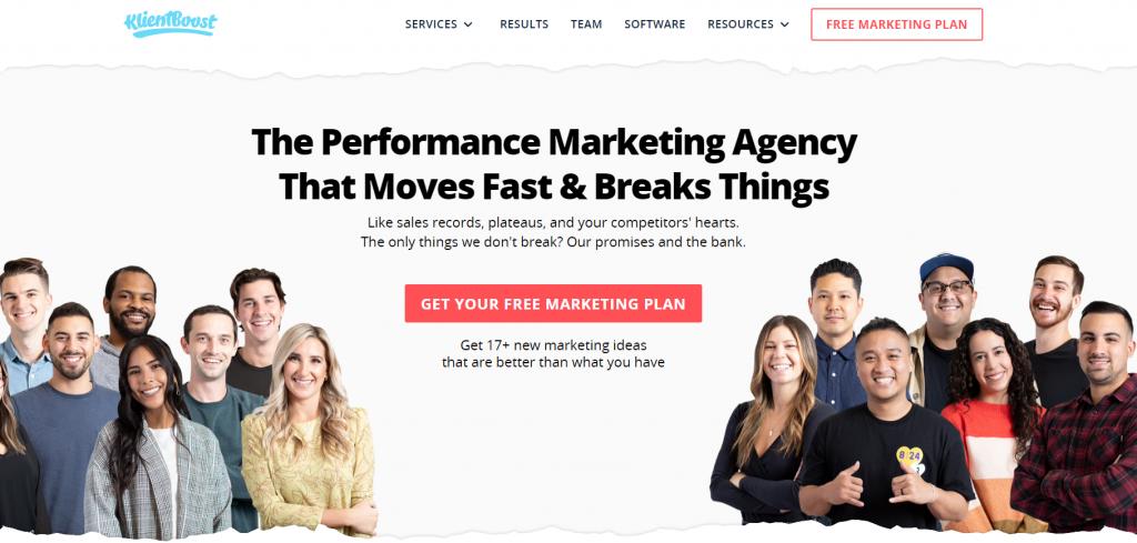 KlientBoost homepage