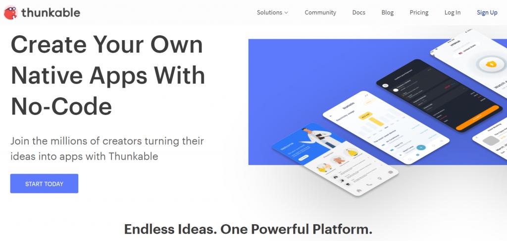 Thunkable homepage