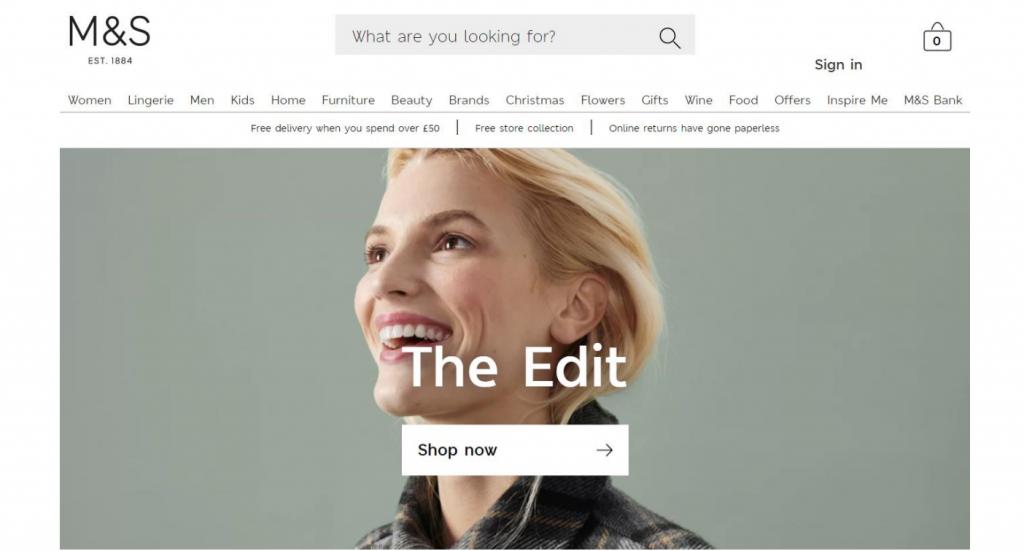 Marks and Spencer website