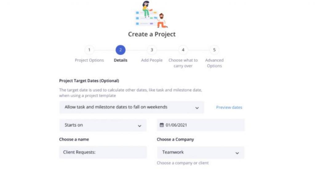 Teamwork project creation
